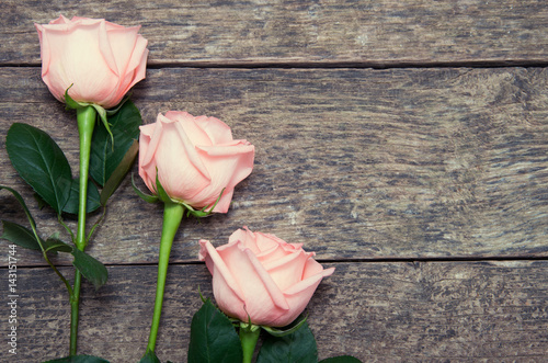 Pink roses over wooden table