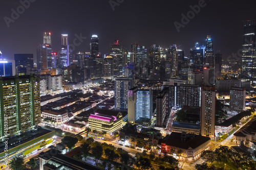 Singapore skyline at night with urban buildings, Downtown core Chinatown