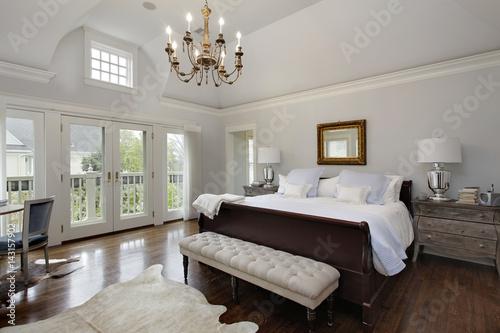 Wall mural Master bedroom with doors to balcony
