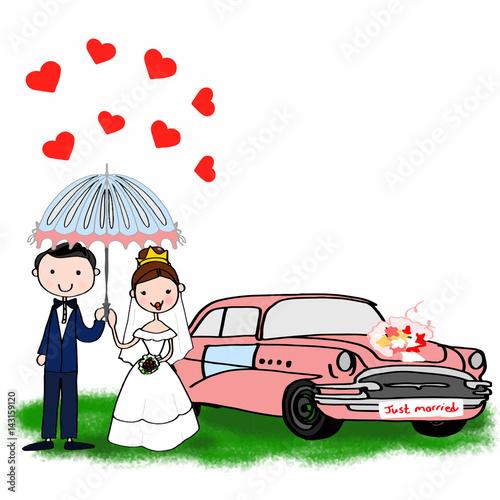 Fotobehang Auto wedding day 1