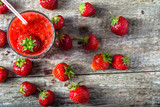 Fresh strawberry smoothie, summer drink, healthy antioxidant juice from fresh berry fruits