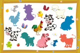 cartoon page with farm characters different animals game with shape