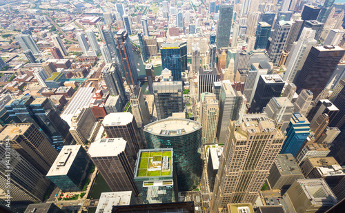 Poster Chicago Aerial view of Chicago downtown at foggy day