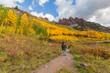 Hiking at Maroon Bells Autumn Reflection