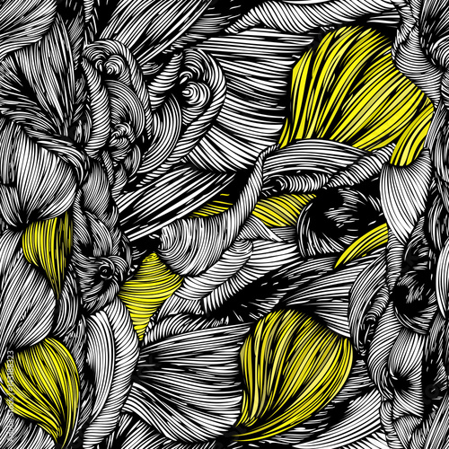 Vector seamless wave doodle hand drawn pattern. Black and white with yellow part. Waves texture pattern with hairstyle braid