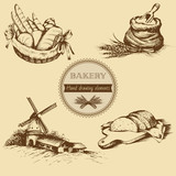 Vintage hand drawn sketch style bakery set. Vector illustration. - 143190554