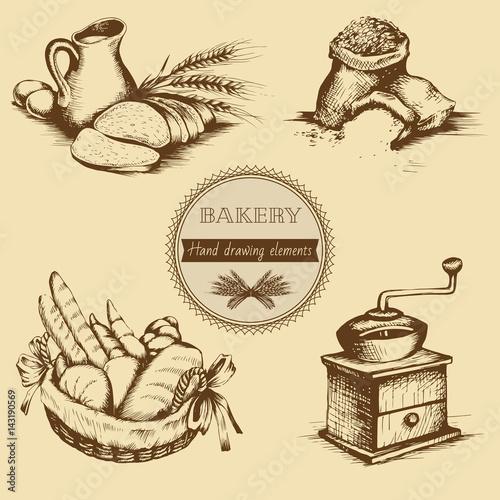 Vintage hand drawn sketch style bakery set. Vector illustration.