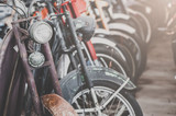 Close up detail of motor-bicycle. vintage effect.