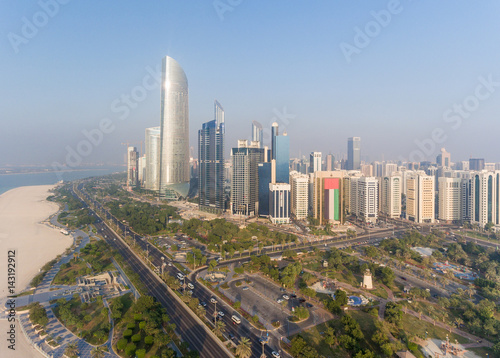 Staande foto Abu Dhabi Abu Dhabi Downtown view from helicopter