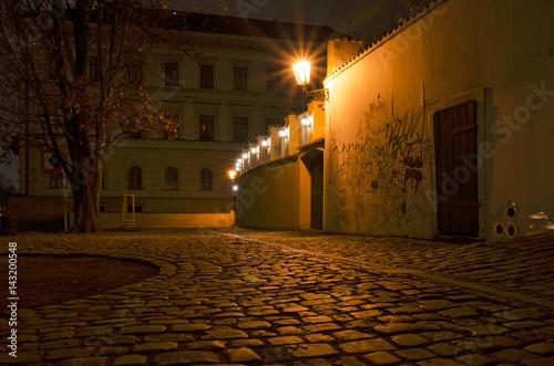 Poster Kampa in the night, Prague, Czech Republic