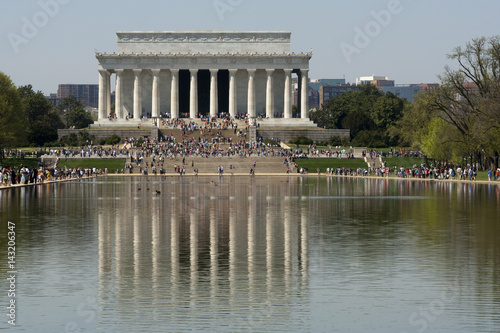 The Lincoln memorial reflected in pool Poster
