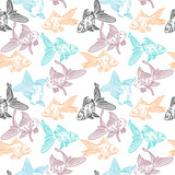 Vector seamless pattern with image of a fishes. Goldfish and perch. Linear fish for coloring books. - 143207550