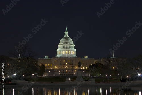 The United States Capitol at night Canvas Print