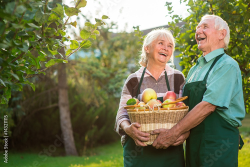 Elderly couple and apple basket