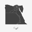 Egypt region map: grey outline on white background. Detailed map of Egypt regions. Vector illustration.