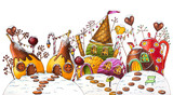 Fototapety Winter Candy Land Street - Marker Illustration (Pears, Ice Cream, Candy)