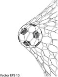 Soccer Football in Goal Net line sketched up Vector Illustrator, EPS 10. - 143241579