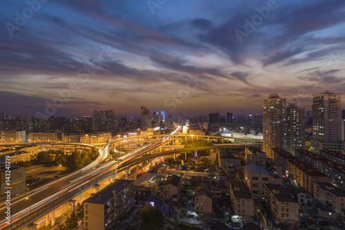 Foto op Plexiglas Kiev At night the overpass expressway