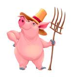 Farmer pig with tool