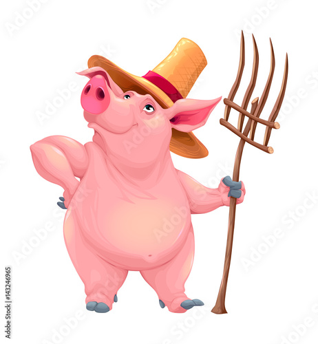 Foto op Canvas Kinderkamer Farmer pig with tool