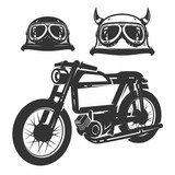 Fototapety Set of motorcycle vintage for prints.