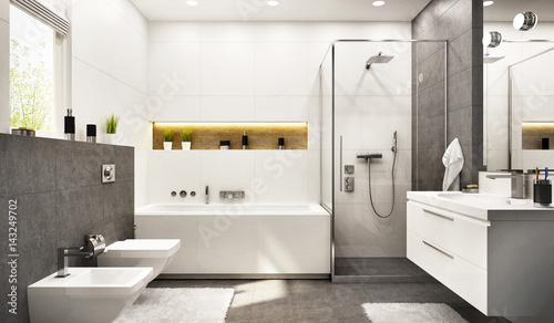 Modern bathroom white with gray