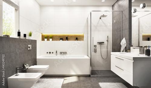 Modern bathroom white with gray