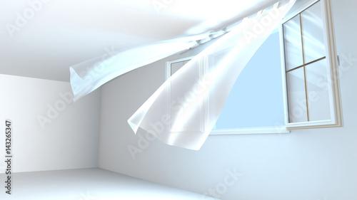 Leinwanddruck Bild Fenêtres ouvertes, l'ai pur entre dans la pièce. Le vent soulève les rideaux. Rendu 3D.