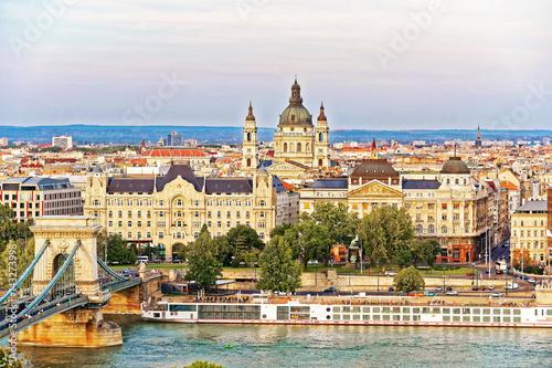 Chain Bridge over Danube River and St Stephen Basilica Budapest © R.Babakin