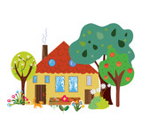 Farm house in the countryside cartoon