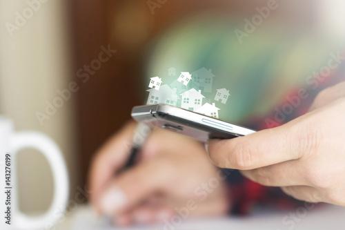 mani, devices, tecnologia, comunicazione, scrivere Poster