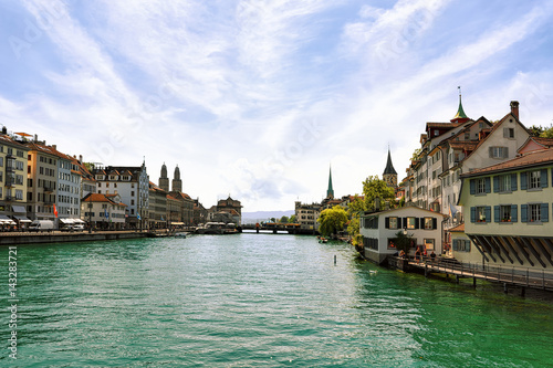 Poster Limmat River quay with spires of main churches of Zurich