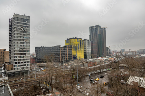 MOSCOW, RUSSIA - APRIL 02, 2017: View from the roof of Mechanized Bakery №9 in the industrial part of the city in cloudy weather