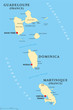 Постер, плакат: Guadeloupe Dominica and Martinique political map with capitals Basse Terre Roseau and Fort de France Islands in Caribbean Sea and parts of Lesser Antilles Illustration English labeling Vector