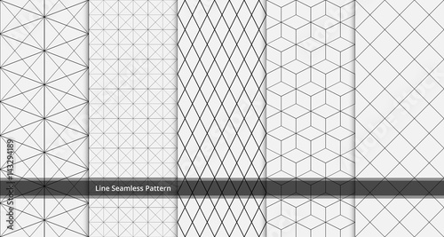 set of geometric line seamless pattern black and white colors. Geometric abstract background vector. - 143294189