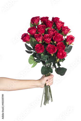 Papiers peints Azalea Hand holding bouquet of red roses