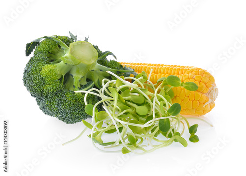 young sunflower sprouts corn broccoli isolated on white background