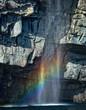 Waterfall with rainbow, Bay Bulls, Newfoundland, Canada