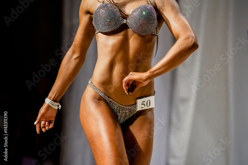 posing woman sexy model in swimsuit competition fitness bikini Poster