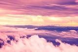 High angle view. Cloud mountain sky. Evening light