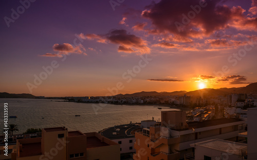 Sunset over the Ibiza town. Balearic Islands. Spain