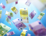euro bills falling, money raining fom the sky, concept of success, luck and winning - 143336157