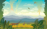 Prehistoric Animals And Landscape Silhouette Of Dinos Wall Sticker