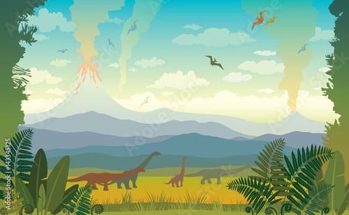 Fototapeta Prehistoric animals and landscape. Silhouette of dinos.