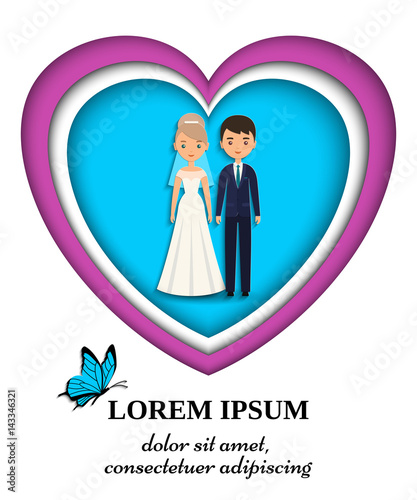 Fotobehang Auto Bride and groom wedding card or invitation in paper art style. Vector flat people characters. Cartoon couple newlyweds on blue background. Icons male, female.
