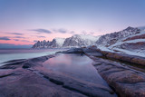 Winter view to Steinfjord on Senja island in the sunset - Troms county, Norway (long exposure)