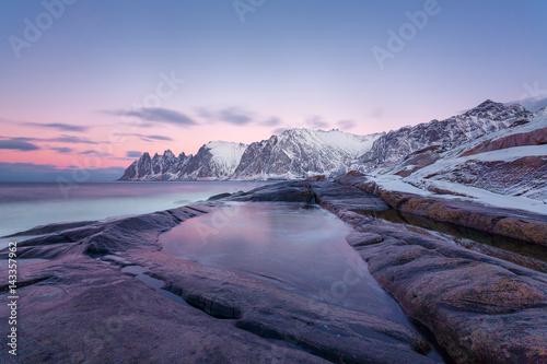 Fotobehang Purper Winter view to Steinfjord on Senja island in the sunset - Troms county, Norway (long exposure)
