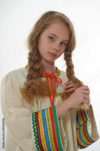 Beautiful young blonde braids hair in a braid. Poster