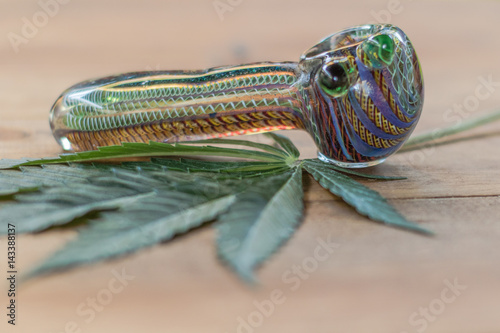 Glass pipe with cannabis leaf