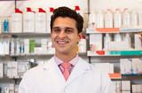 Man pharmacist at the chemists shop